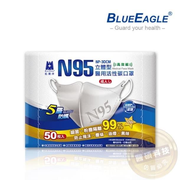 【藍鷹牌】N95立體型活性碳醫療用口罩