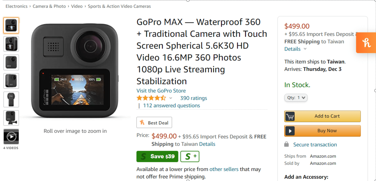 Amazon-com-GoPro-MAX-—-Waterproof-360-Traditional-Camera-with-Touch-Screen-Spherical-5-6K30-HD-Video-16-6MP-360-Photos-1080p-Live-Streaming-Stabilization-Camera-Photo